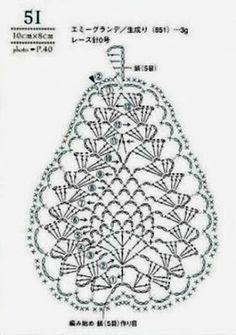 Crochet Motif La ventana azul: Pera a crochet Filet Crochet, Freeform Crochet, Crochet Diagram, Crochet Chart, Thread Crochet, Crochet Motif, Diy Crochet, Crochet Doilies, Crochet Flowers