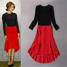 New Fashion Ruffle Fall Evening Dress Black and Red Two-Pieces Suit More www.aliexpress.com