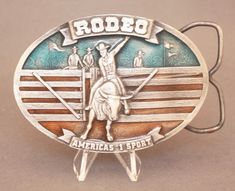Vintage 1977 Rodeo belt buckle by Arroyo Grande available for purchase via paypal, $25 w/free shipping! Rodeo Belt Buckles, Vintage Belt Buckles, Arroyo Grande, Decorative Plates, Free Shipping, Instagram Posts