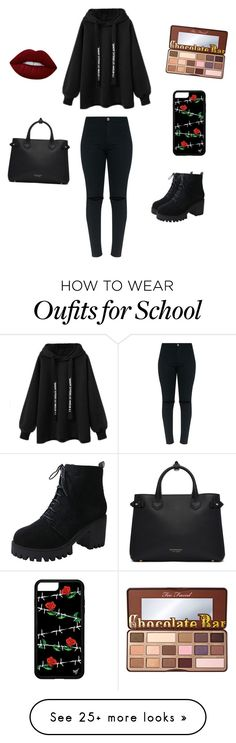 """full black school outfit"" by nathalieluyten on Polyvore featuring Burberry, Lime Crime and Too Faced Cosmetics"