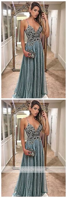 Sage Green Halter Delicate Beaded V Neck Lace Long Evening Prom Dresses, 17477
