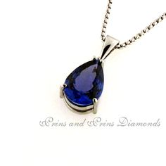 The centre stone is a pear cut tanzanite set in a white gold solitaire pendant Pear, Centre, White Gold, Pendants, Pendant Necklace, Jewellery, Stone, Jewels, Rock