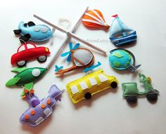 "Baby Crib Mobile - Baby Mobile - Transportation Mobile - ""Bus, Airplane, Scooter, Submarine, Car, and Hot air balloon"" (Pick your color)"