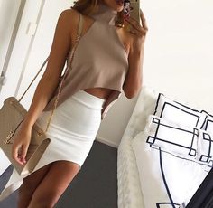 Nude and white  side cut skirt and halter neck side sloped crop top ❤