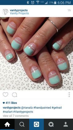 Simple mint mani with negative space design