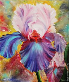 Flower Canvas Art, Flower Artwork, Oil Painting Pictures, Pictures To Paint, Acrylic Flowers, Iris Flowers, Iris Painting, Flower Sketches, Wonderful Flowers