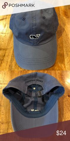 cdc02cd104f33 Men s VINEYARD VINES Whale Logo Hat -Slate Blue -Adjustable Strap -Worn  Once -Excellent Condition -Smoke Free Open to reasonable offers Vineyard  Vines ...