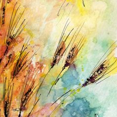 watercolor wheat | Rye Watercolor and Ink Modern Square Painting Art Prints by Ginette ...