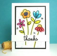 Thanks card by Lynn Put - Paper Smooches - Twiggy Florets, Sentiment Sampler