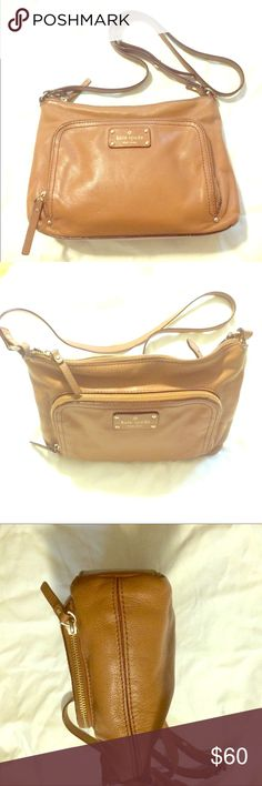 Kate Spade Crossbody❤️Flash Sale Today Only🎉🎉🎉 Kate Spade Cognac Crossbody with front zipper pouch.Good Condition minus Cosmetic staining on interior lining. Adjustable Strap. Cute for all occasions. kate spade Bags Crossbody Bags