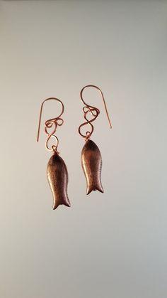 Fish Earrings Copper Infinity Fish Dangle Charm by LGBStyles
