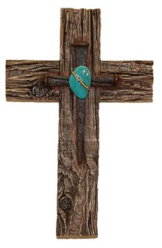 Rustic Wooden Crosses | Wall Cross, Rustic Wood Grain and Nail with Turquoise Stone