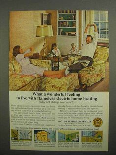1966 Edison Electric Institute Ad - Home Heating-This is a 1966 ad for a Edison Electric Institute! The size of the ad is approximately The caption for this ad is 'What a wonderful feeling to live with flameless electric home heating' Th 1960s Interior Design, Interior Design Institute, Vintage Room, Vintage Ads, Vintage Images, 1960s Decor, Ad Home, Retro Ads, Old Ads