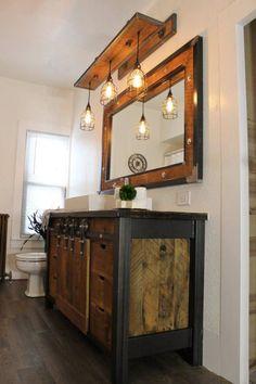Vintage Industrial Decor Rustic Industrial Light - Steel and Barn Wood Vanity Light, rustic light (Cage Shade) w/Bulbs Rustic Bathroom Designs, Rustic Bathroom Decor, Industrial Bathroom, Bathroom Ideas, Bathroom Taps, Bathroom Colors, Bathroom Storage, Small Rustic Bathrooms, Bathroom Scales