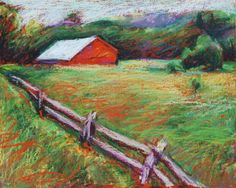 NC Barn Painting, 8 x 10 Original Oil Pastel on Board, Red Barn and Pasture by BethanyBryant. $60.00, via Etsy.