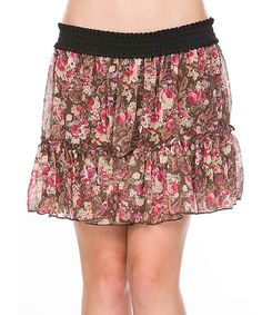 Love this Cecico Brown & Pink Floral Miniskirt by Cecico on #zulily! #zulilyfinds