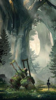 The amazing concept art of NieR:Automata NieR:Automata World Guide Art Collection Environment Concept, Environment Design, Fantasy Places, Fantasy World, Fantasy Kunst, Fantasy Art, Neir Automata, Fantasy Forest, Forest Art