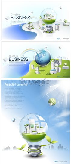 Technology environmental poster construction business concepts vector