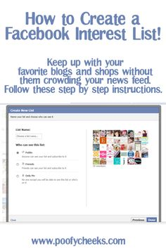 Creating a Facebook Interest List  by www.poofycheeks.com Business Profile, Business Help, Online Business, Facebook Marketing Strategy, Social Media Marketing, Pinterest For Business, For Facebook, Social Media Tips, Step By Step Instructions