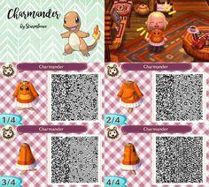 Animal Crossing New Leaf qr code cute charmander glumanda dress outfit red orange fire pokemon hoodie crossover acnl design by sturmloewe