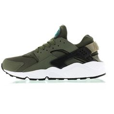 "Nike Air Huarache ""Iron Green"" ❤ liked on Polyvore featuring shoes, huaraches, sneakers, nike, green shoes, nike footwear and nike shoes"