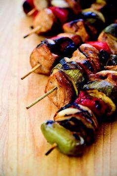 Chicken and Veggie Kabobs   via John McLemore's Dadgum That's Good, Too! cookbook #Tailgate