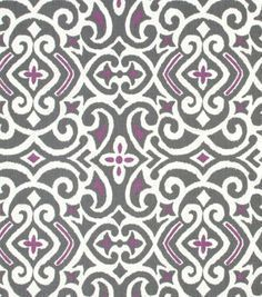 Damask fabric gray and lavender