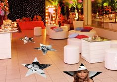 Adesivo para festa em formato de estrela