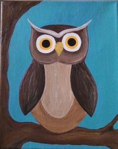 Owl Painting- Acrylic on Canvas add some feathers and this would be good! Art Deco Posters, Painting Inspiration, Painting, Owl Painting Acrylic, Whimsical Art, Art, Painting Crafts, Canvas Art, Owl Painting