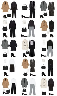 Autumn Capsule Wardrobe Workwear Outfit Options Some Cool Ideas for Outfits for School Of cour Capsule Wardrobe 2018, Capsule Outfits, Fashion Capsule, Fall Wardrobe, Fall Outfits, Office Wardrobe, Wardrobe Basics, Work Wardrobe Essentials, Staple Wardrobe Pieces