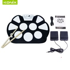 USB      roll up   electronic  kit  drum with   sticks  and   pedals