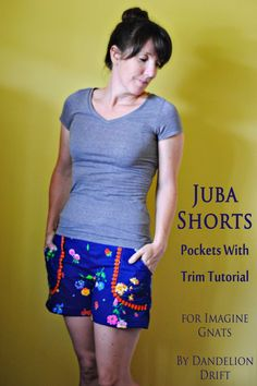 juba shorts tutorial: pockets with trim || imagine gnats