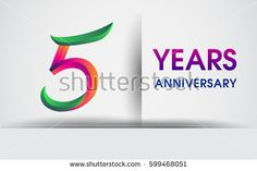 five years Anniversary celebration logo, colorful design logotype isolated on white background, vector elements for celebrating 5th birthday party