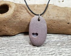 Large Heart Necklace beach rock jewelry carved by RockYouWear