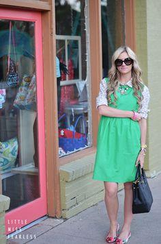 green dress + mixed prints