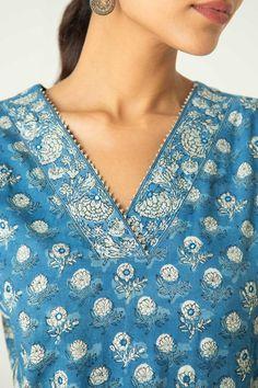 Kurta Designs, Neck Design, Kurti, Line, Indigo, Printed, Cotton, Tops, Women