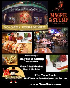 Magpie & Stump of Alberta, Canada, already serving delicious Tacos on our Chef Series Mini Triples, has just ordered our Chef Series Singles! We thank Magpie & Stump for being such loyal customers! Any Chefs looking for the Finest in Taco Cookware & Servers, come see what many other chefs from around the world have discovered...  www.TacoRack.com. American Made Quality, Award Winning Designs...