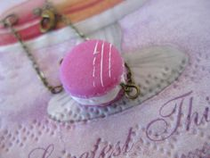 Pink Macaroon Bracelet _ Dollhouse Scale Miniature Food _ Polymer Clay by MarisAlley on Etsy Pink Macaroons, Macarons, Strawberry Macaron, Macaroon Tower, Miniature Food, Shades Of Purple, Pink Color, Polymer Clay, Scale
