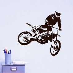 Motocross Wall Decals Jumps Motorcycle Home Decor DIY Removable Vinyl Adhesive Wall Stickers Living Room #Affiliate