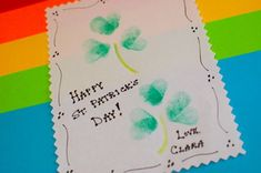 Capture those little thumbprints with a festive St. Patrick's Day card! - - Pinned by @PediaStaff – Please Visit http://ht.ly/63sNt for all our pediatric therapy pins