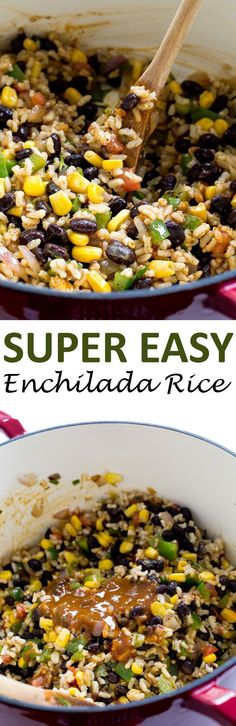 Super Easy Enchilada Rice made with homemade enchilada sauce! Loaded with onions, black beans, corn, bell pepper and salsa. The perfect side dish!   chefsavvy.com #recipe #enchilada #rice #mexican #side Rice Recipes, Side Dish Recipes, Mexican Food Recipes, Vegetarian Recipes, Dinner Recipes, Cooking Recipes, Healthy Recipes, Mexican Menu, Mexican Shrimp