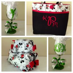 Large tote bag, with three inside pockets, snap closure. Large and small  make up bag w/ vinyl lining. Wine glass with tinkerbell. To order please contact kaydeesbagboutique@comcast.net