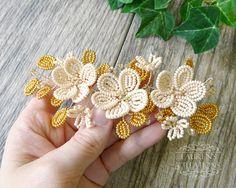 French Beaded Flower Wedding Hair Vine Ivory by LaurenHCreations