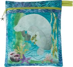 Sea Breeze Zipper Pouch designed by McKenna Ryan. Features Tigerfish by McKenna Ryan, shipping to stores October 2016. Pattern available for purchase (pineneedles.com). #tigerfishfabric