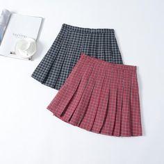 Korean plait pleated school high waist pants skirt SD00339