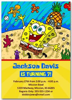 Modern Spongebob Birthday Party Invitation Spongebob birthday