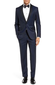 We love the look of a trim fit navy suit with a black shawl lapel.   Ted Baker London 'Josh' Trim Fit Navy Shawl Lapel Tuxedo   Wedding Fashion   Groom Tuxedo Ideas   Nordstrom   Dapper Style
