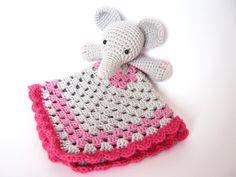READY TO SHIP  Crochet Elephant Lovey Security by oxihandmade