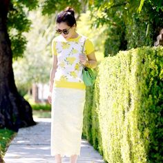 I love a good pencil skirt! Bright and fresh lemony color for sunny new spring days!