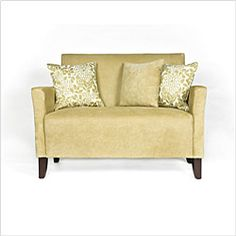 angelo:HOME Sutton transitional designer loveseat has a slightly flared arm designLiving room furniture features plush foam and polyester seatingLoveseat is designed by Angelo Surmelis